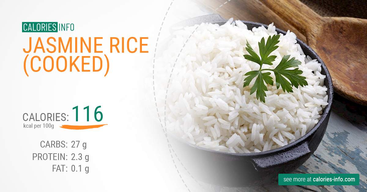 Jasmine rice (cooked) - caloies, wieght